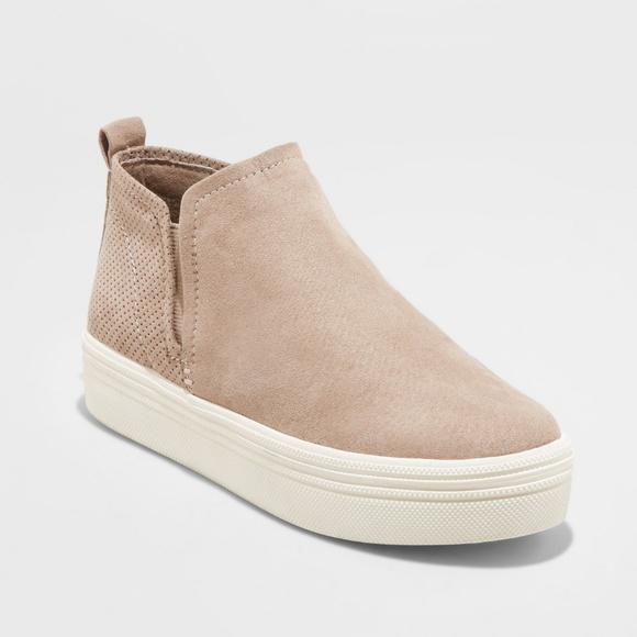 Taupe Liz Microsuede High Top Sneakers